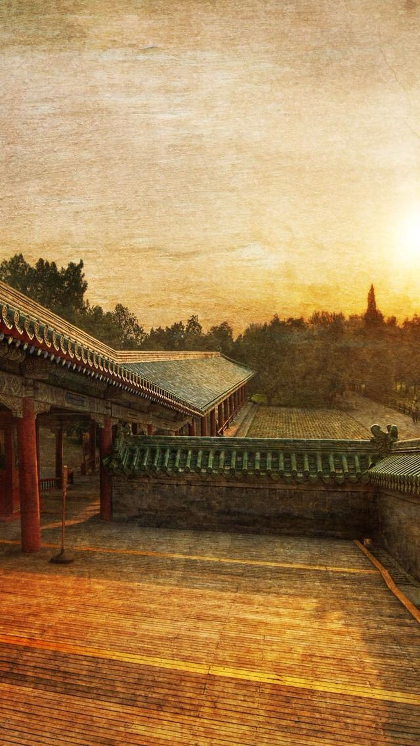 built structure, architecture, sunset, building exterior, sky, orange color, roof, no people, travel destinations, outdoors, cloud - sky, sunlight, tranquility, place of worship, religion, house, nature, railing, wood - material, spirituality