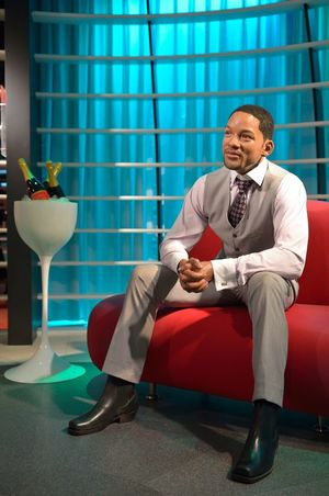 Will Smith Casual Clothing Childhood Contemplation Fashion Flooring Front View Fun Holding Indoors  Innocence Lifestyles Madame Tussauds Men Real People Sitting Standing Three Quarter Length Wall Wax Dolls Wax Museum Young Men