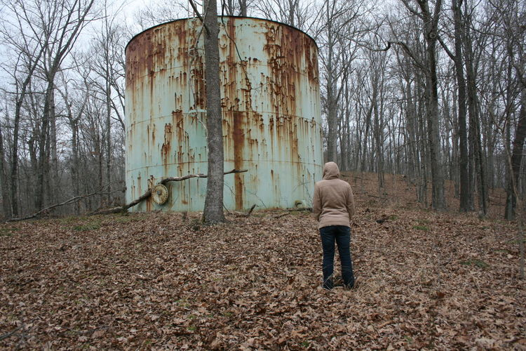 Abandoned Architecture Autumn Bare Tree Building Exterior Day Forest Full Length Nature Old One Person Outdoors People Rusty Standing Tree Water Tank Water Tower Water Tower - Storage Tank Woman Women
