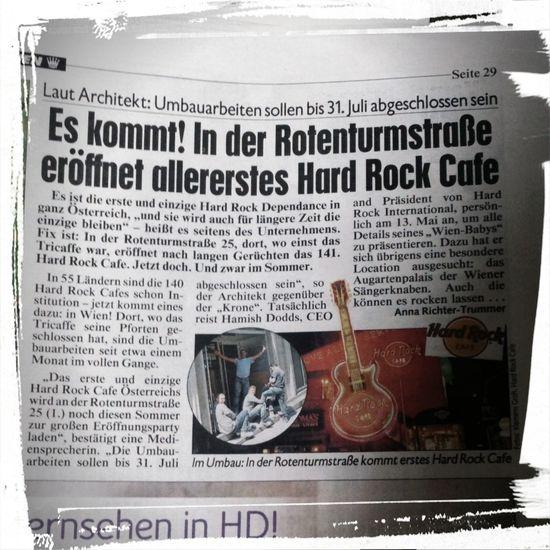 Zeit wird es! Endlich kommt ein Hard Rock Cafe nach Wien Mai 2014 Zeitungsartikel
