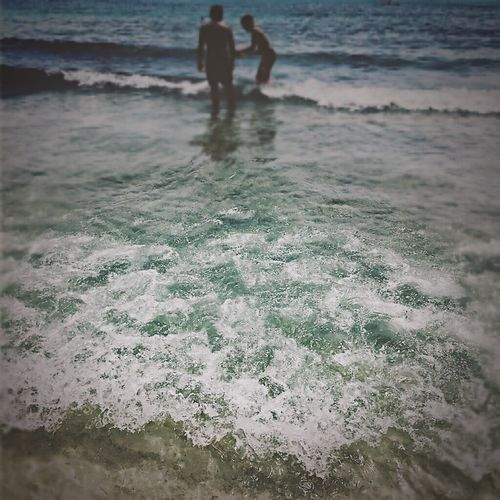 Beach Sea Lifestyles Togetherness Water Men Wave Wellen Waves, Ocean, Nature Waves Summer Summertime Blue Bluewave On The Move Sea Life Island Islandlife Nature Nature Photography Beauty In Nature Travel Destinations Vater & Sohn Wanderlust Father & Son