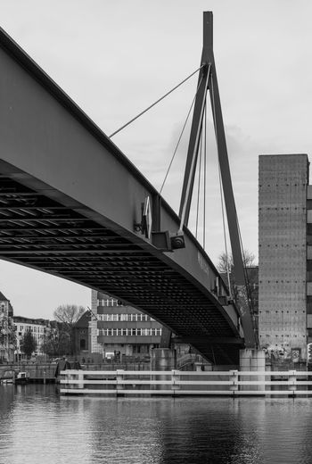 Architecture Berlin Berlin Photography Berliner Ansichten Black And White Blackandwhite Bridge - Man Made Structure Built Structure City City Life Connection Day No People Outdoors Reflections In The Water Schwarzweiß Urban