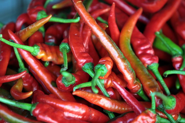 Extreme close up of chilies