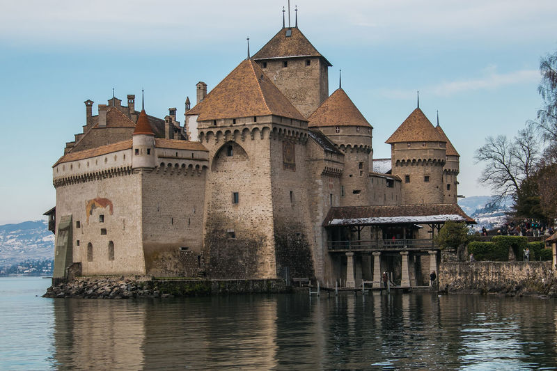 Winter view of Chillon castle in Switzerland, Europe Castle Chillon Castle Chillön :) Geneva Lake Architecture Building Building Exterior Built Structure Chillonchateau Chillön  Europe Famous Place Fortress History Lake Nature Old Outdoors Reflection Swiss Switzerland Travel Travel Destinations Veytaux Water