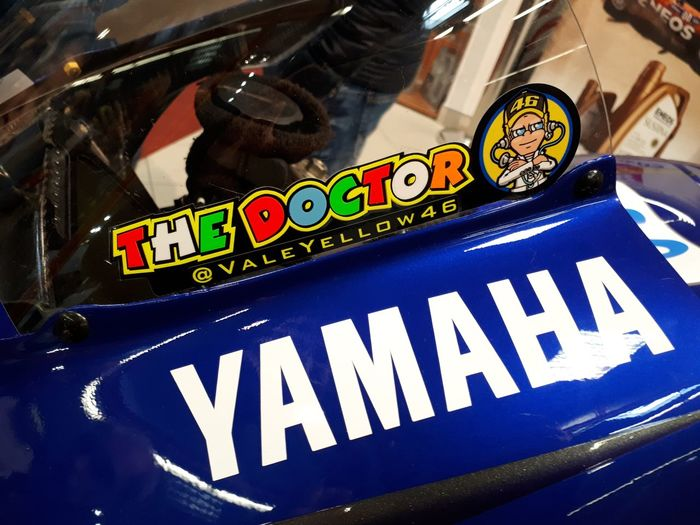 Motogp Valentino Rossi Rossi The Doctor 46 Motocycle Yamaha Western Script Text Communication No People Close-up Blue Car Motor Vehicle Sign Mode Of Transportation Transportation Capital Letter Number Day Land Vehicle Fun Indoors  Arts Culture And Entertainment Still Life Art And Craft