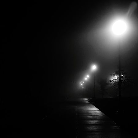 Night Illuminated No People Fog After Rain Wet Blackandwhite Black & White No Colors Black And White Black And White Friday Visual Creativity HUAWEI Photo Award: After Dark A New Beginning