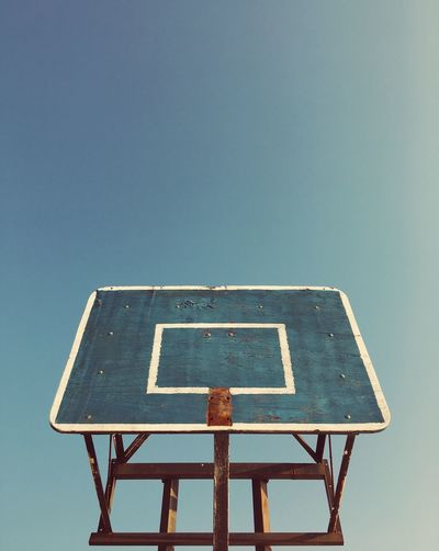 No Sports today Symmetry Bluesky Lookup Summer IPhone Minimalism Colors Sky Basketball - Sport Low Angle View Sport No People Basketball Hoop Clear Sky Blue Outdoors Day Leisure Games Old
