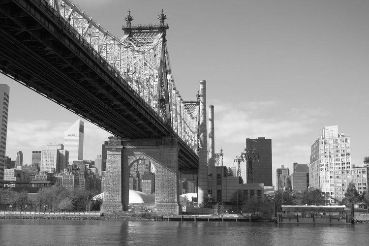59th Bridge Roosevelt Island Queenborough Bridge Park River Riverside East River East River, NYC Black And White Manhattan Bridge - Man Made Structure Bridge Transportation