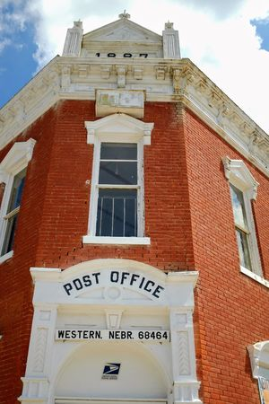 Visual Journal July 2017 Village of Western, Nebraska - Post Office Camera Work Everyday Lives Historical Building Nebraska Old West  Photo Essay Rural America Small Town America Storytelling Visual Journal Always Taking Photos Architecture Brick Building Building Exterior Built Structure Day Look Up Low Angle View My Neighborhood No People Outdoors Photo Diary Post Office Rural Life Rural Living Sky Small Town Stories Text Usps