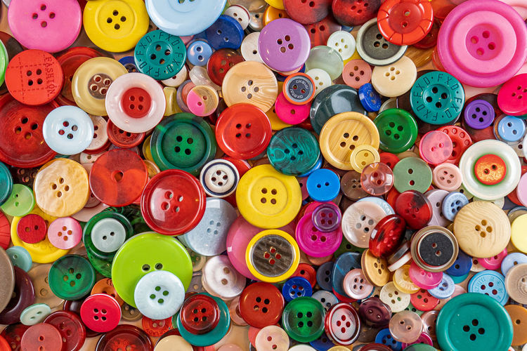 Full frame shot of multi colored buttons