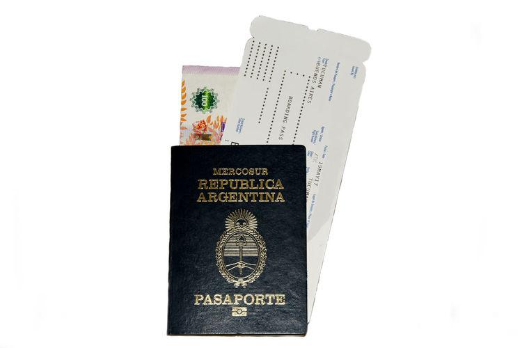 Argentina Passport & Boarding Pass Passport Boarding Pass Ticket White Background Isolated Argentina
