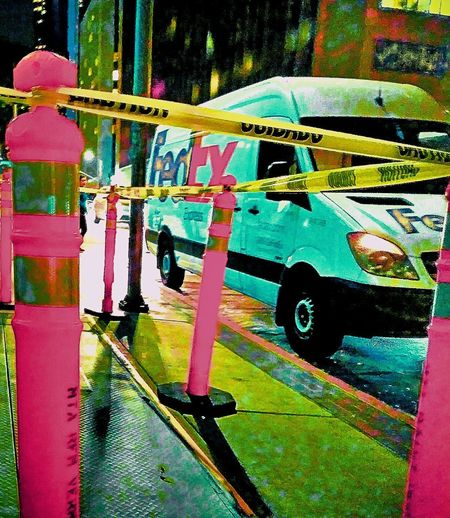 Yellow Yellow Color Yellowporn Headlight On The Sidewalk Reflectors  Caution Tape Street Photography Street Street Photo Caution Delivery Delivery Van Van Parked City Streetphotography Urban Scene Side-view Mirror Mode Of Transport Vehicle