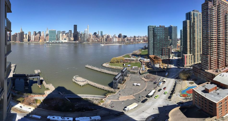 High angle view of east river in city