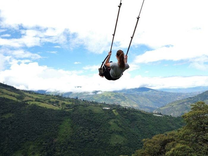 An Eye For Travel Casa Del árbol Cloud - Sky Freedom Landscape Mountain Nature Outdoors Sky Swing Swing At The End Of The World Swinging Travel Vacations Young Woman Live For The Story Done That. Be. Ready.