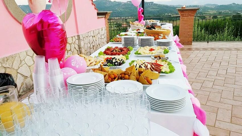 Beautifully Organized Table Tablecloth Glasses Plates Plates On A Table Cuttlery Pink Party Food And Drink Food Celebrating Baptism Baloons Starter Cheese Chip Multicoloured White Green Color Happiness Eating Healthy White Color