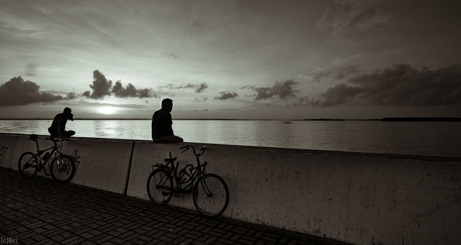 Bicycle Cycling Beach Silhouette People Horizon Over Water Sonya6000 sunrise black and white