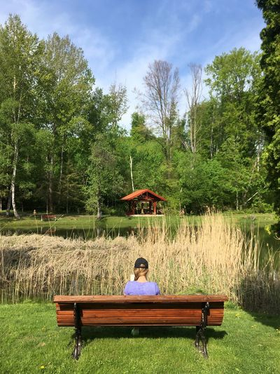 Girl At Lake Lakeside Trekking Brunette Plant Tree Seat Relaxation Nature Sitting Grass Bench Green Color Real People Park Leisure Activity Water Outdoors Lifestyles Focus On The Story