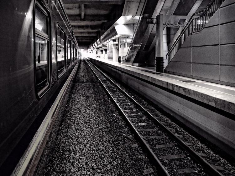 Blackandwhite Diminishing Perspective Railwaytrack The Way Forward Track Train Train Station Vanishing Point