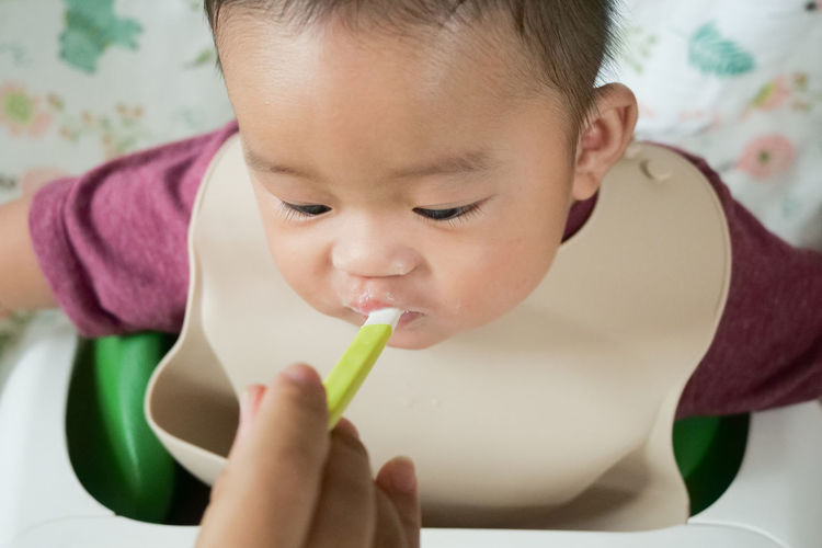 Close-up portrait of cute boy eating