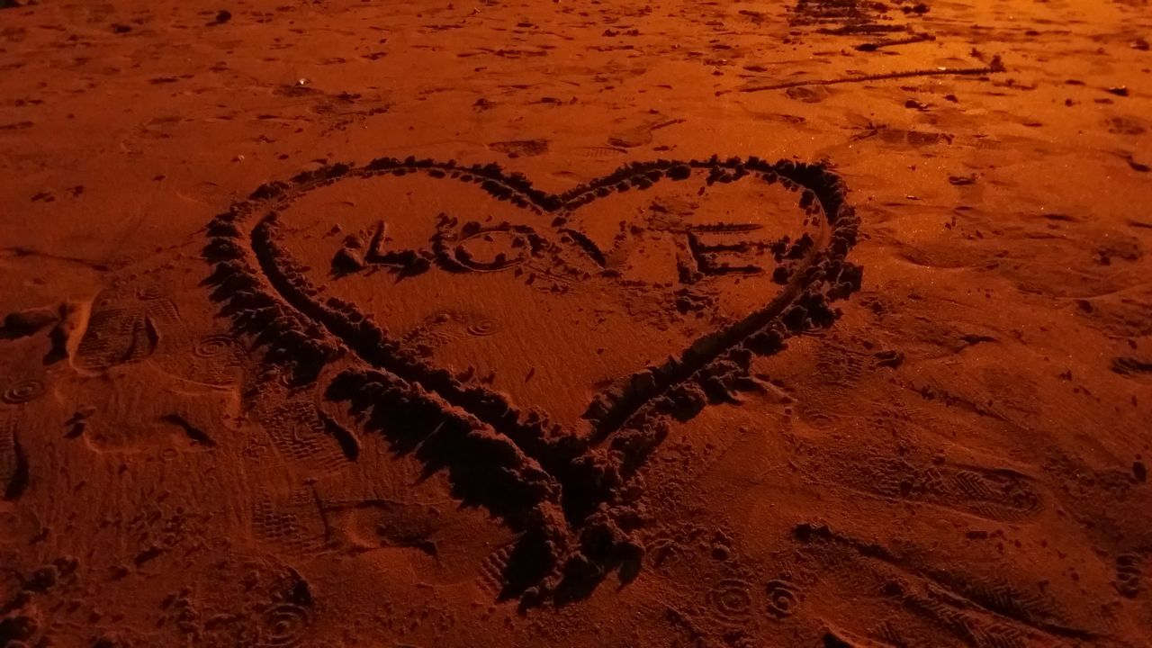 heart shape, love, text, sand, no people, communication, outdoors, day, close-up