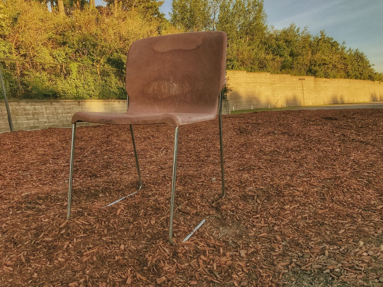 chair, absence, no people, seat, field, day, tree, outdoors, landscape, nature, beauty in nature, grass, sky