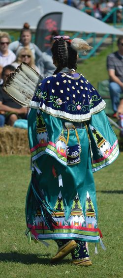 Native Dancer Pow Wow Performance Real People Traditional Clothing Women