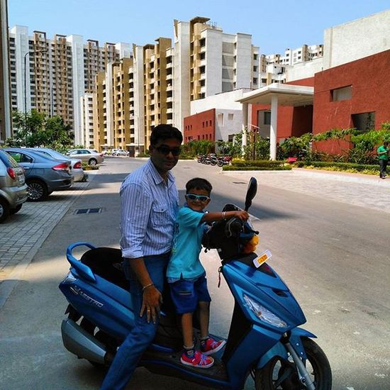 Road trip on my new machine.... along with my little one... He's super excited bcoz he has chosen the colour Technoblue & me the design n model. Happiness is in such small things.. Funfilled Love Happygudipadwa Happiness Gratitude