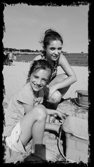 Summertime Togetherness Girls Enjoyment Vacations Family Fun Beach Child Two People Sand Leisure Activity Lifestyles Sand Castle Childhood West Beach Fun In The Sun! Black And White The Portraitist - 2017 EyeEm Awards