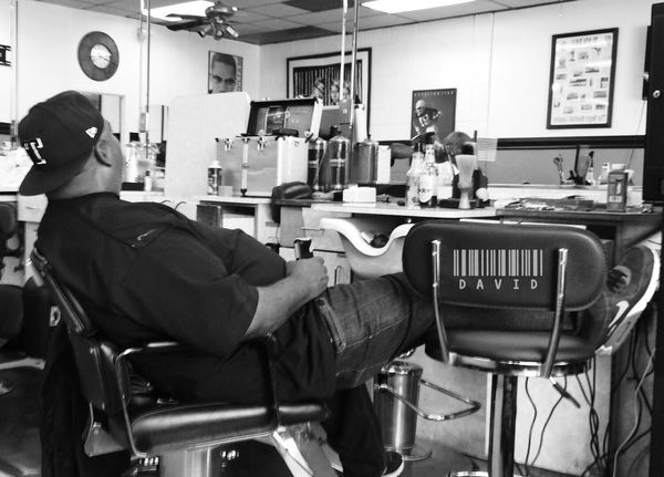Slow Morning Taking Photos Black And White Barber Shop Candid