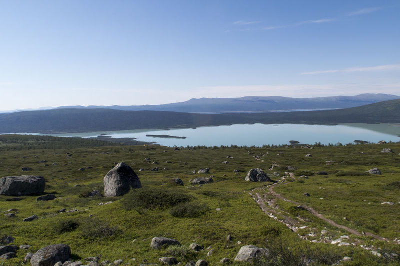 Beauty In Nature Day Footpath Hiking Adventures Hiking Trail Hill Kungsleden Lake Landscape Morning Light Mountain Mountain Range National Park Nature No People Nordic Light Outdoors Reflection Remote Sarek Scenics Showcase July Tranquility Water Wilderness