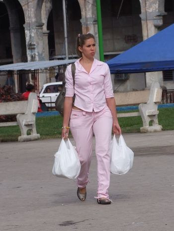 Cuban Woman Shopping Casual Clothing City City Life Composition Cuba Cute Deep In Thought Full Frame Full Length Havana Leisure Activity Lifestyles No Incidental People Outdoor Photography Outdoors Pink Colour Portrait Shopping Street Tourist Attraction  Tourist Destination Walking Young Woman