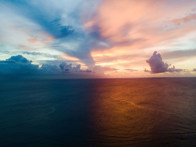 Sea Beauty In Nature Scenics Nature Sky Tranquility Tranquil Scene Horizon Over Water Water Sunset No People Outdoors Day Mauritius DJI Mavic Pro