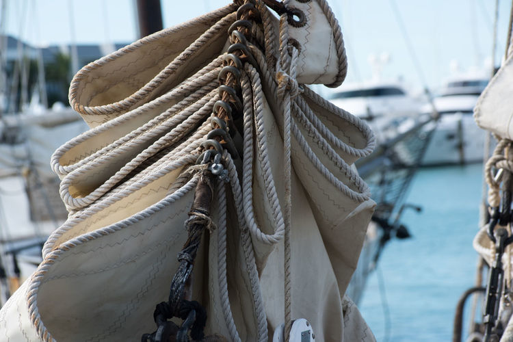 Close-up of rigging on boat