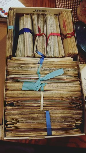 Love letters. Love Letters Grandparents Love From My Grandparents Old Letters Wartime Letters Soldiers Letters Vintage Antique Preserved Letters Box - Container No People Mementos Paper Bound Letters Shoebox Shoebox Of Letters