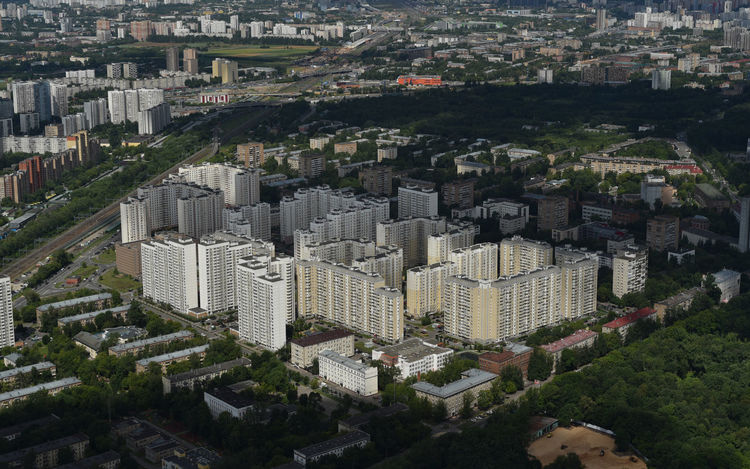 Moscow Ostankino Television Tower Ostankinotvtower Aerial View Apartment Architecture Building Building Exterior Built Structure City Cityscape Crowd Crowded Day High Angle View Modern Nature Ostankino Residential District Skyscraper Tower