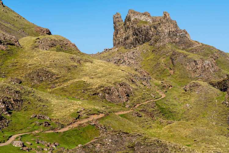 Hiking Scotland Beauty In Nature Clear Sky Day Environment Formation Grass Green Color Growth Isle Of Skye Land Landscape Mountain Mountain Peak Mountain Range Nature No People Non-urban Scene Outdoors Plant Remote Rock Scenics - Nature Sky Tranquil Scene Tranquility The Great Outdoors - 2018 EyeEm Awards The Traveler - 2018 EyeEm Awards