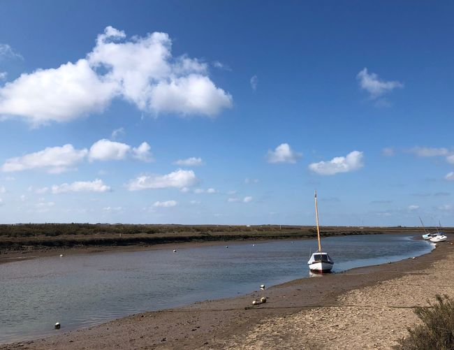 River Glaven Blakeney Copy Space Eyem Best Shots Nature_collection EyeEm Nature Lover Eyemphotography Seascape Sky Water Cloud - Sky Beach Nature Tranquility Scenics - Nature Land Sea Tranquil Scene Beauty In Nature No People Nautical Vessel Day