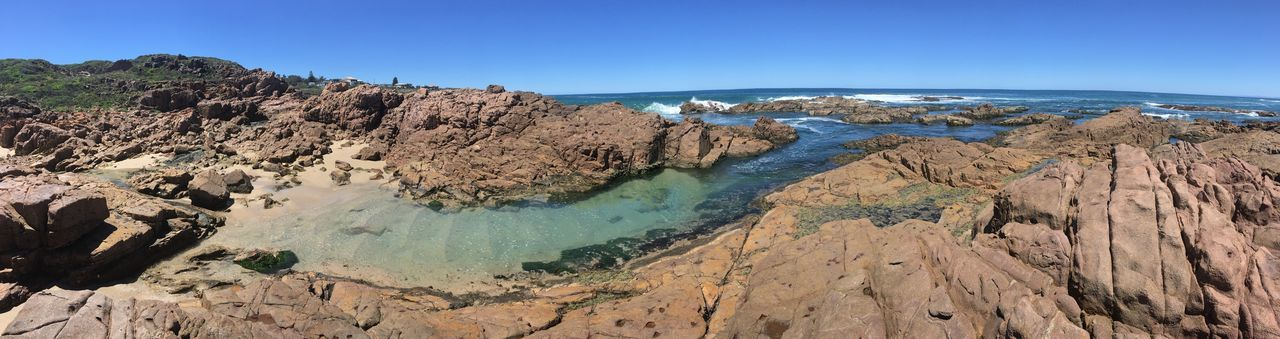 Birubi Point idyllic swimming inlet with hot rocks all around Inlet Pool Panorama Anna Bay Bathing Spot Recreation  Rocky Blue EyeEm Selects Blue Rock - Object Beauty In Nature Nature Scenics Geology No People Outdoors Tranquility Day Clear Sky Tranquil Scene Physical Geography Water Landscape Sky