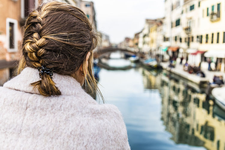Woman in Venice, Italy Venice Italy Rear View One Person Headshot Hair Adult Water Focus On Foreground Women Hairstyle Portrait Architecture Braided Hair Canal Lifestyles Transportation Day City Long Hair Human Hair Outdoors