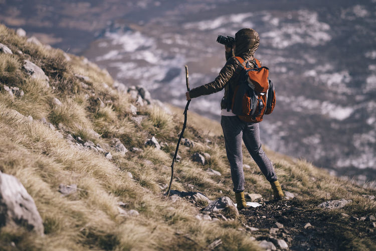 Hiking on the mountain Rtanj, Serbia Adventure Backpack Beauty In Nature Cold Temperature Hiking Landscape Mountains Nature Photographer Scenics Standing Woman