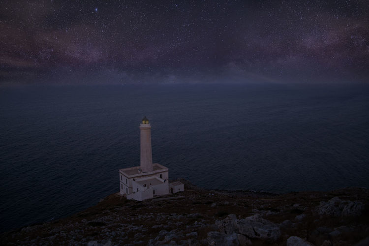 Salento Sky Night Scenics - Nature Water Sea Star - Space Beauty In Nature Built Structure Horizon Over Water Astronomy Nature Space Architecture Tower Horizon Guidance Lighthouse Building Building Exterior No People