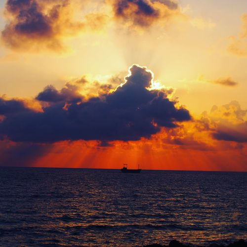 Sky Cloud - Sky Beauty In Nature No People Water Sea Ship Sunset Nature Photography Sun Red Sky Cyprus