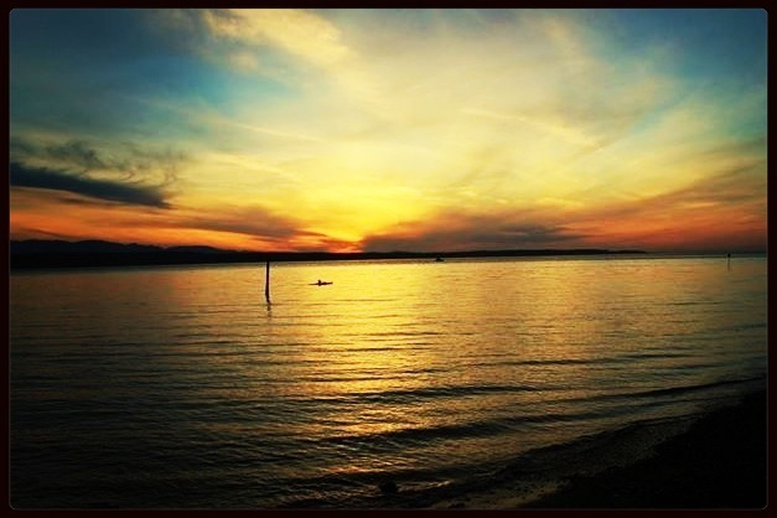 sunset, water, tranquil scene, scenics, transfer print, tranquility, beauty in nature, sky, sea, orange color, reflection, auto post production filter, idyllic, nature, cloud - sky, horizon over water, silhouette, cloud, dramatic sky, waterfront