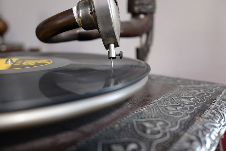 old record player Vintage Retro Record Turntable Close-up Retro Styled Arts Culture And Entertainment Music Equipment Technology Indoors  Selective Focus No People Machinery Gramophone Metal Record Player Needle Focus On Foreground Motion Audio Equipment Economy