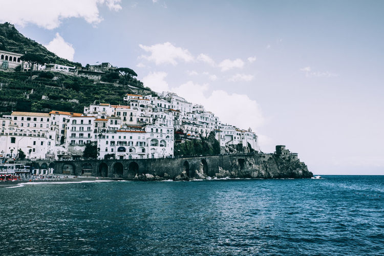 Amalfi Coast Panoramic Architecture Beach Blue Building Building Exterior Built Structure City Cliff Cloud - Sky Day Dramatic Landscape Land Nature No People Outdoors Residential District Scenics - Nature Sea Sky Summer Tourism Water Waterfront