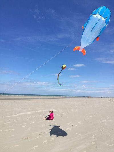 Kite flying over beach against blue sky
