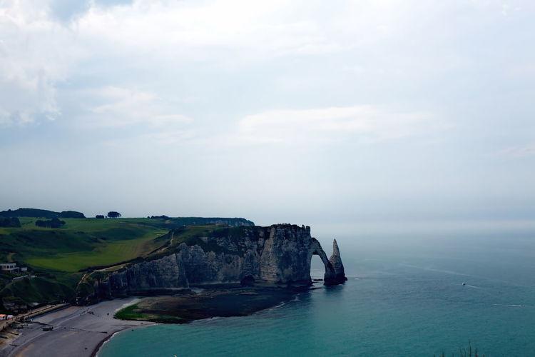 Etretat on the coast of france with wonderful landscapes