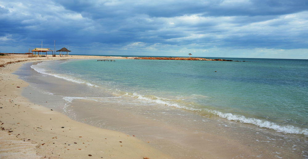 Mare Tunisia Aghir Beach Beauty In Nature Cloud - Sky Day Horizon Horizon Over Water Idyllic Land Motion Nature No People Sand Scenics - Nature Sea Sky Spiaggia Tranquil Scene Tranquility Turquoise Colored Water Wave