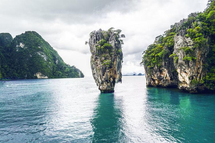 Scenic view of rocks in sea against sky