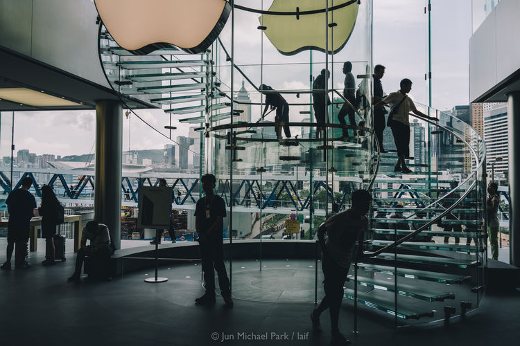Hong Kong, May 2013. Apple Store Architecture City City Life Composition Hong Kong HongKong IFC Jun Michael Park RX1 Showcase July Sony Sony RX1 Street Streetphotography Travel Travel Photography Urban Urban Geometry Urban Exploration